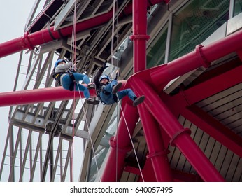 LONDON/UK - MAY 13 : The ArcelorMittal Orbit Sculpture at the Queen Elizabeth Olympic Park in London on May 13, 2017. Unidentified people