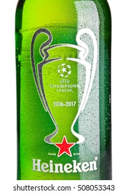 LONDON,UK -NOVEMBER 01, 2016: Bottle of Heineken Lager Beer on white background. Champions league 2016-2017. Heineken is the flagship product of Heineken International