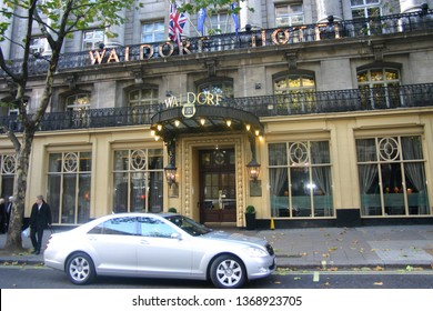 London/UK - November 06 2010: People near the front of the famous Waldorf Hotel on Aldwych.