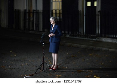 London,UK - November 14th 2018: Prime Minister Theresa May makes a statement outside No 10 Downing Street confirming that her Cabinet back the Brexit draft agreement.