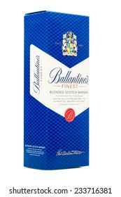 LONDON,UK - NOVEMBER 19, 2014 : Box of Ballantines whisky isolated on white