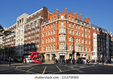 LONDON/UK - October 10, 2018. Moreton Hotel on the junction of Woburn Place and Bernard Street, Bloomsbury, London, England