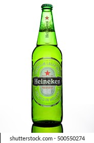 LONDON,UK -OCTOBER 17, 2016: Bottle of Heineken Lager Beer on white background. Heineken is the flagship product of Heineken International