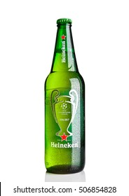 LONDON,UK -OCTOBER 23, 2016: Bottle of Heineken Lager Beer on white background. Champions league 2016-2017. Heineken is the flagship product of Heineken International