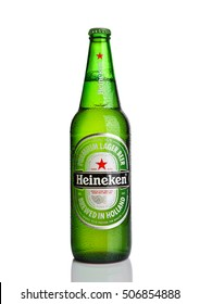 LONDON,UK -OCTOBER 23, 2016: Bottle of Heineken Lager Beer on white background. Heineken is the flagship product of Heineken International