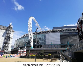 LONDON,UK-14 MAY 2019: External of Wembley Stadium, London, UK opened in 2007. It hosts major football matches including home matches of the England national football team, and the FA Cup Final