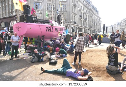 London.UK.April 17th 2019.Extinction Rebellion's take over of London's Marble Arch and Oxford Circus continues to Day 3.