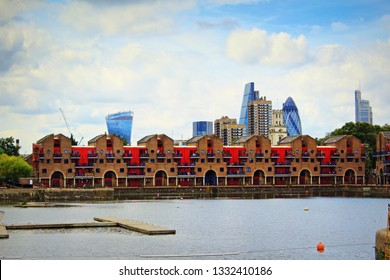 London,UK-August 13th 2016:Shadwell Basin was part of the London Docks at Wapping, It is now a maritime square used for recreational purposes and is surrounded by a waterside housing development.