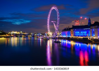 London,UK-December 2018:The Millennium wheel known as London Eye. It's a cantilevered observation wheel on the South Bank of the River Thames