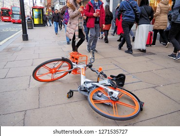 London.UK.January 1st 2019.London's Oxford Street sees the return of Mobikes littering the pavement and causing obstruction to pedestrians.