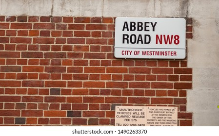 London,UK-January 2019:Abbey Road street sign made famous by the 1969 Beatles album cover.