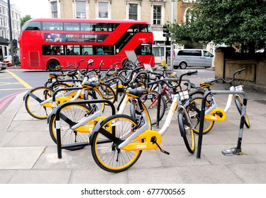 London.UK.July 15th 2017.London's first dockless hire bikes were launched this week in the first phase of what is expected to be a rapid rollout of the machines by Singapore-based company Obike