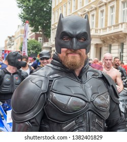 "London"".UK/July 8 2017: Gay Pride March. A reveller in a batman suit at the Gay Pride Parade. Regent Street, Westminster. London"