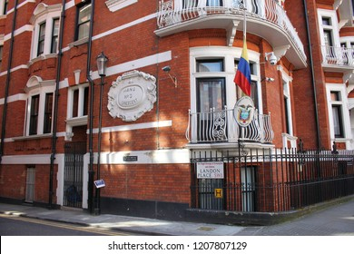 London/UK-June 19 2018: 3 Hans Crescent, Knightsbridge, London, famous publicist Julian Assange still in detention in the UK, his arrest warrant still active.