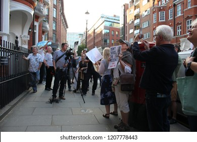 London/UK-June 19th 2018: Julian Assange Supporters Rally to show their solidarity Free Julian Assange posters and voices.