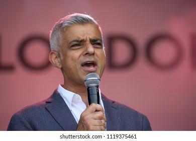 London,UK,June 23rd 2018,Mayor of London Sadiq Khan attends Eid Festival in Trafalgar Square, London.