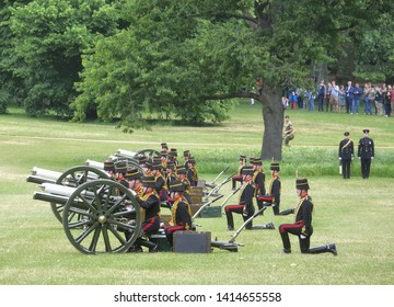 London.UK.June 3rd 2019.The King's Troop Royal Horse Artillery fire an 82-round gun salute to mark the anniversary of the Queen's coronation and the arrival of Donald Trump at Buckingham Palace.