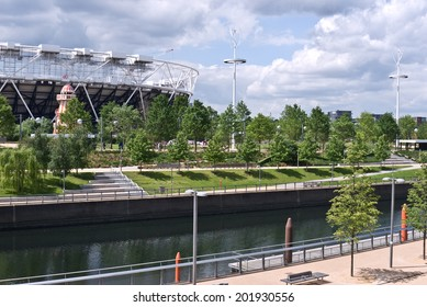 LONDON,UK-JUNE 7: View of the Queen Elizabeth Olympic Park, London's newest park formed as a legacy after the Games has parkland, waterways and world class sporting venues. June 7 2014  in London  UK.