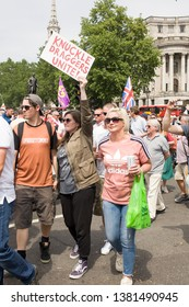 """London"""".UK/June 9 2018: Tommy Robinson Protest, Tommy Robinson supporters Protesting in Trafalgar Square, Westminster. London"""
