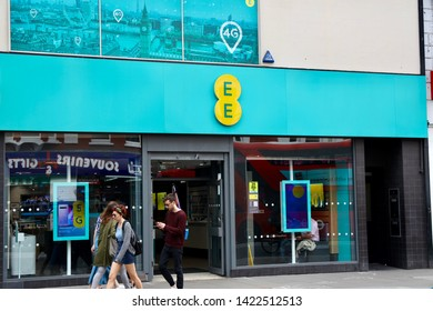 London,UK/May 22, 2019: EE store on the oxford street, London. EE is a British mobile network operator, internet service provider and a division of BT Group.