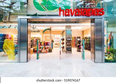 LONDON,UK-NOVEMBER 19 2016:Havaianas is a Brazilian brand of flip-flop sandals created by Scotsman Robert Fraser in 1962.