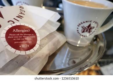 London.UK.November 21st 2018. Pret a Manger increase allergy warning labels to stem law suits.