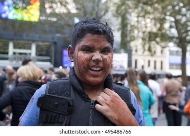 London,UK,October 8th 2016,Zombies attend World Zombie Day in Leicester Square London to raise money for St Mungo's Homeless charity