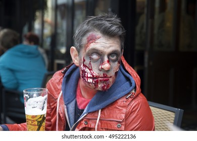 London,UK,October,8th,2016,Zombies attend World Zombie Day in Leicester Square London to raise money for St Mungo'??s Homeless charity