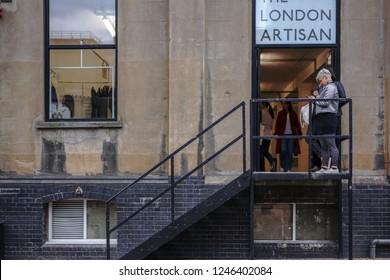 LONDON,UK-SEPT. 30,2018:Brick Lane street, in London Shoreditch, East London, UK.Brick Lane is the heart of the city's Bangladeshi-Sylheti community.