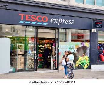 London,UK/September 2,2019: The store of Tesco  express. Tesco plc trading as Tesco, is a British multinational groceries and general merchandise retailer.