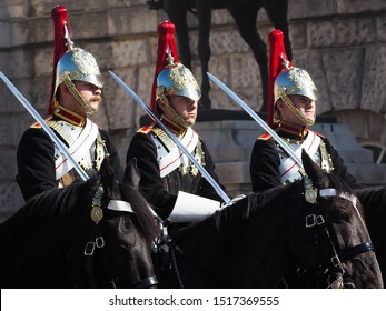 London,UK-September 26,2019: Cavalry guards standing in front of Buckingham Palace.