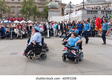 LONDON,UK-SEPTEMBER 4: Members of the Rhinestone Rollers Perform at the Liberty Festival In Trafalgar Square. September 4, 2010, London, UK.