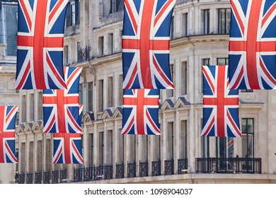 London/United Kingdom - 05 20 2018: English flags / Union Jack on Oxford Street