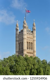 London/United Kingdom - 07 19 2012:   The Victoria Tower at the Palace of Westminster aka The Houses Of Parliament