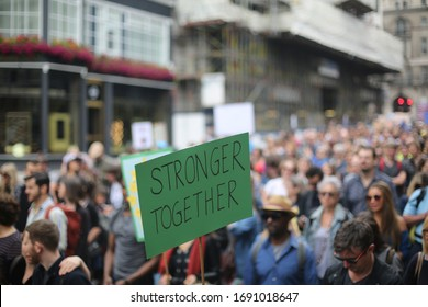 London/United Kingdom - 07.02.2016: Placard reads 'Stronger Together'' at an anti Brexit march in London in 2016 after Britain voted to leave the European Union.