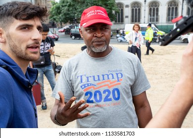 London/United Kingdom - July 13, 2018: Donald Trump's visit to England is met with protests and a blimp flying over London/ A Trump supporter shouts loudly at demonstrators in protest of the balloon.