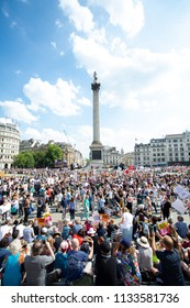London/United Kingdom - July 13, 2018: Protests against Donald Trump continue with a march in central London ending up in Trafalgar Square for a rally.