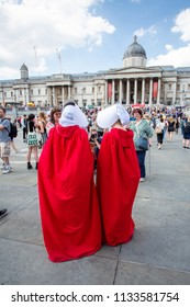 London/United Kingdom - July 13, 2018: Protests against Donald Trump continue with a march in central London ending up in Trafalgar Square for a rally. Costumes were visible too.