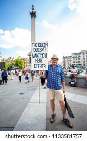 London/United Kingdom - July 13, 2018: Protests against Donald Trump continue with a march in central London ending up in Trafalgar Square for a rally. The inside word.