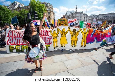 London/United Kingdom - July 13, 2018: Protests against Donald Trump continue with a march in central London ending up in Trafalgar Square for a  rally.  Entering Trafalgar Square.