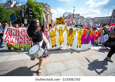 London/United Kingdom - July 13, 2018: Protests against Donald Trump continue with a march in central London ending up in Trafalgar Square for a rally. The lead group arrives!