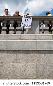 London/United Kingdom - July 13, 2018: Protests against Donald Trump continue with a march in central London ending up in Trafalgar Square for a rally. Early in Trafalgar Square.