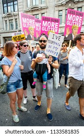 London/United Kingdom - July 13, 2018: Protests against Donald Trump continue with a march in central London ending up in Trafalgar Square for a rally. Trump means something different in England.