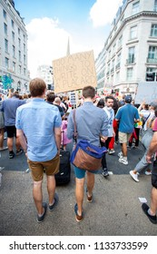 London/United Kingdom - July 13, 2018: Protests against Donald Trump continue with a march in central London ending up in Trafalgar Square for a rally. Too many issues to name.
