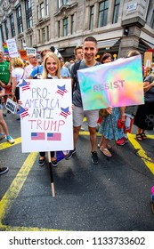 London/United Kingdom - July 13, 2018: Protests against Donald Trump continue with a march in central London ending up in Trafalgar Square for a rally. Many Americans were present.