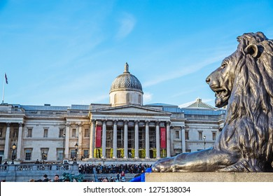London,United Kingdom-26 March 2018:The National Gallery from Trafalgar Square. The National Gallery is an art gallery on founded in 1824