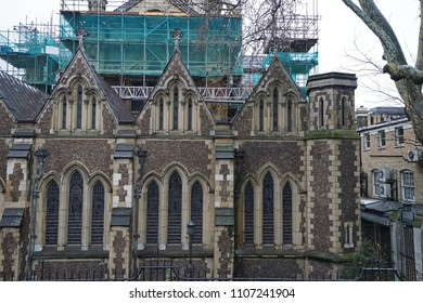 LONDON,UNITED KINGDOM-DECEMBER 27,2017:Constructing building site by the Borough market, wholesale and retail food market in Southwark-England,UK