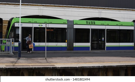 London,Wimbledon/United Kingdom-August 17th 2019: Tram link service from Wimbledon to Croydon