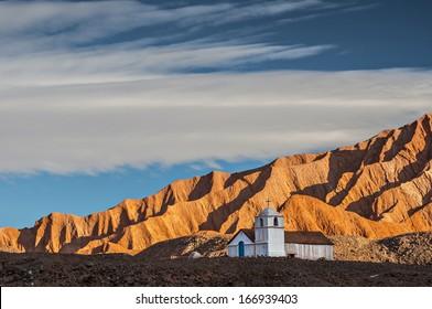 Lone adobe chapel, atacama desert