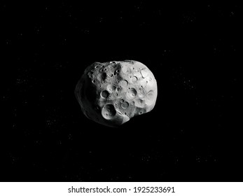 Lone asteroid with craters in space. Asteroid isolated on a black background.